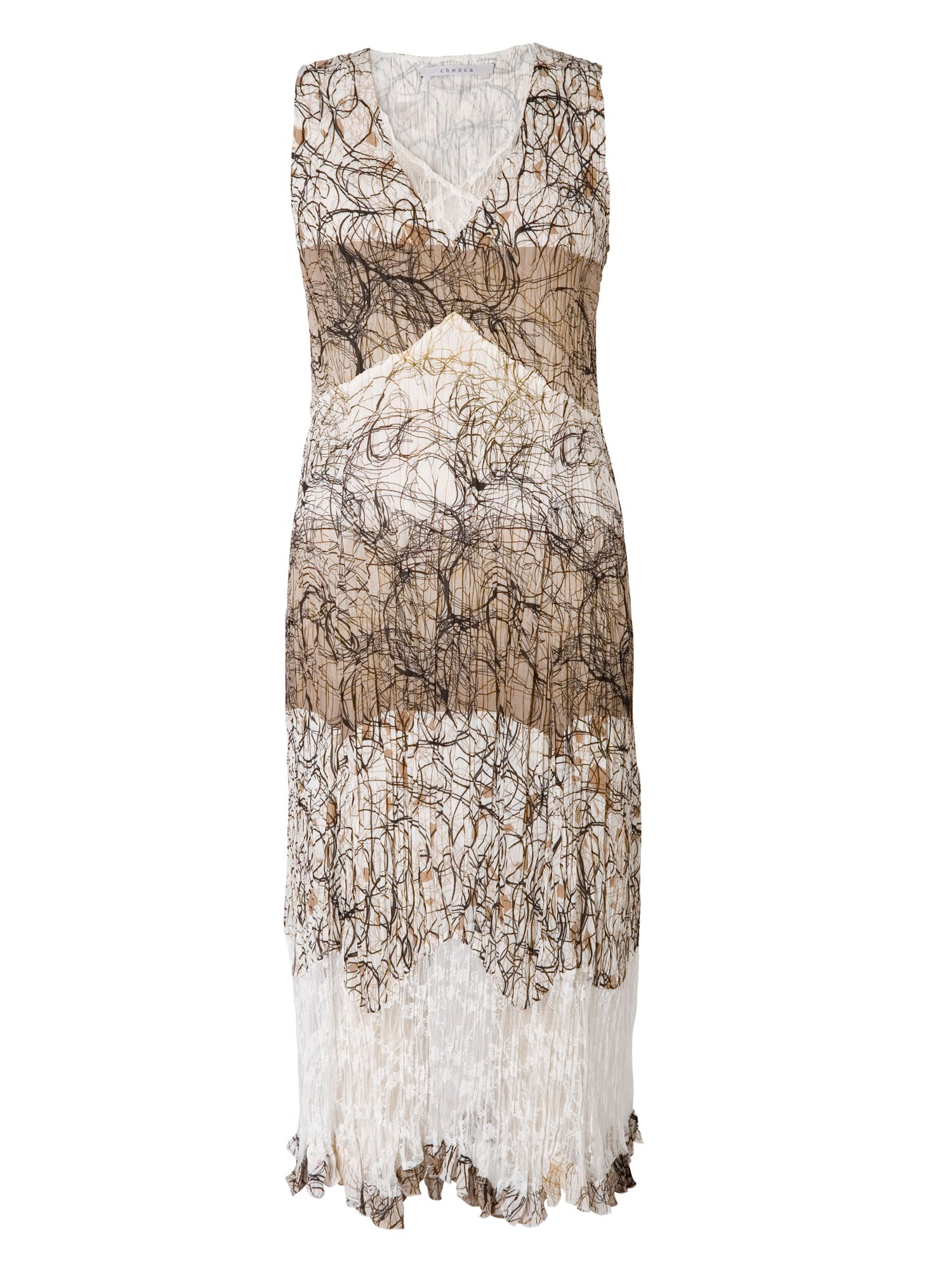 Chesca Scribble Print Dress With Lace Trim, White