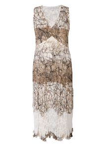 Chesca Scribble Print Dress With Lace Trim