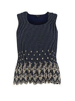 Plus Size Spot Print Crush Pleat Camisole
