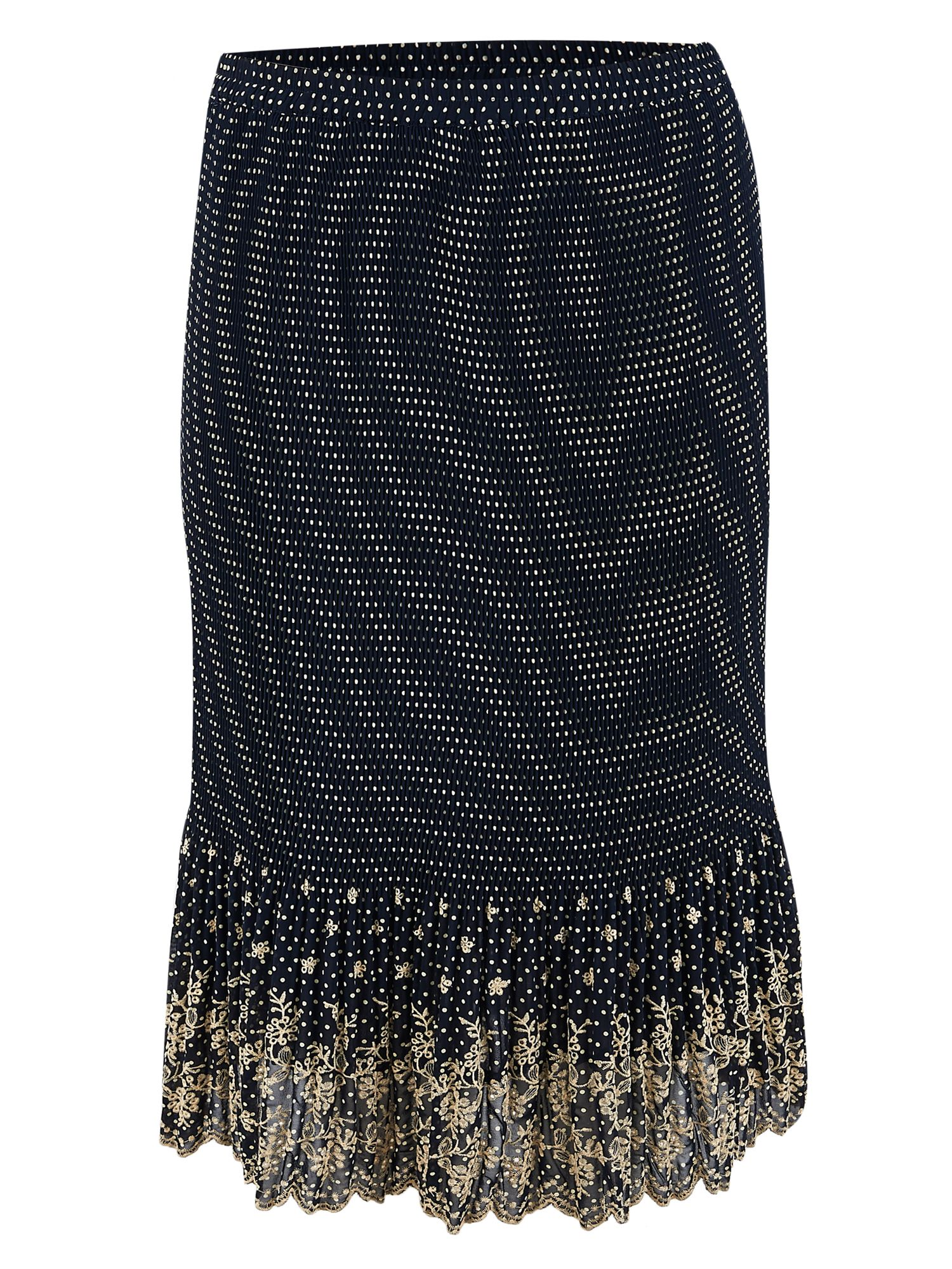 Spot Print Embroidered Crush Pleat Skirt