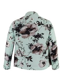 Chesca Poppy Print Shrug With Spot Mesh Lining
