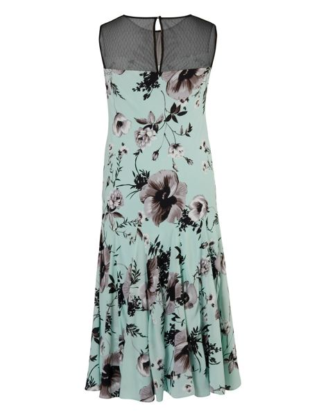 Chesca Poppy Print Dress With Spot Mesh Yoke