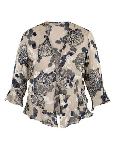 Chesca Applique Detail Floral Devoree Shrug