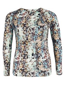 Plus Size Sequin Print Jersey Long Sleeve Top