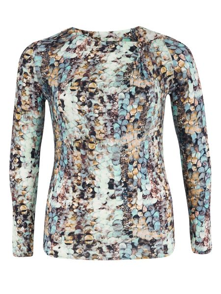 Chesca Plus Size Sequin Print Jersey Long Sleeve Top