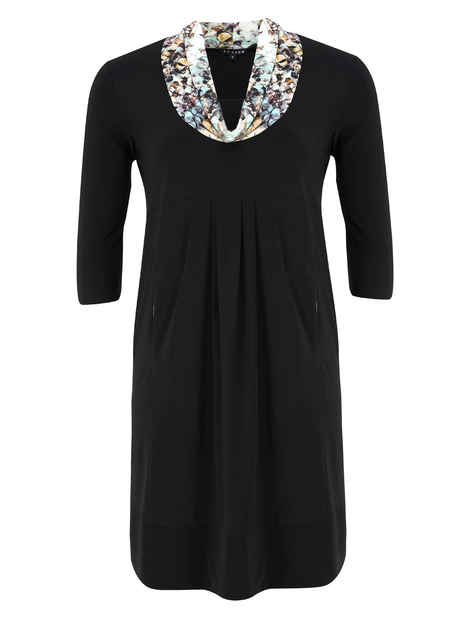 Jersey Dress With Sequin Print Collar