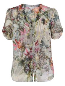 Chesca Fern Print Pintuck Blouse With Camisole
