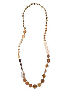 Multi Tonal Long Beaded Necklace