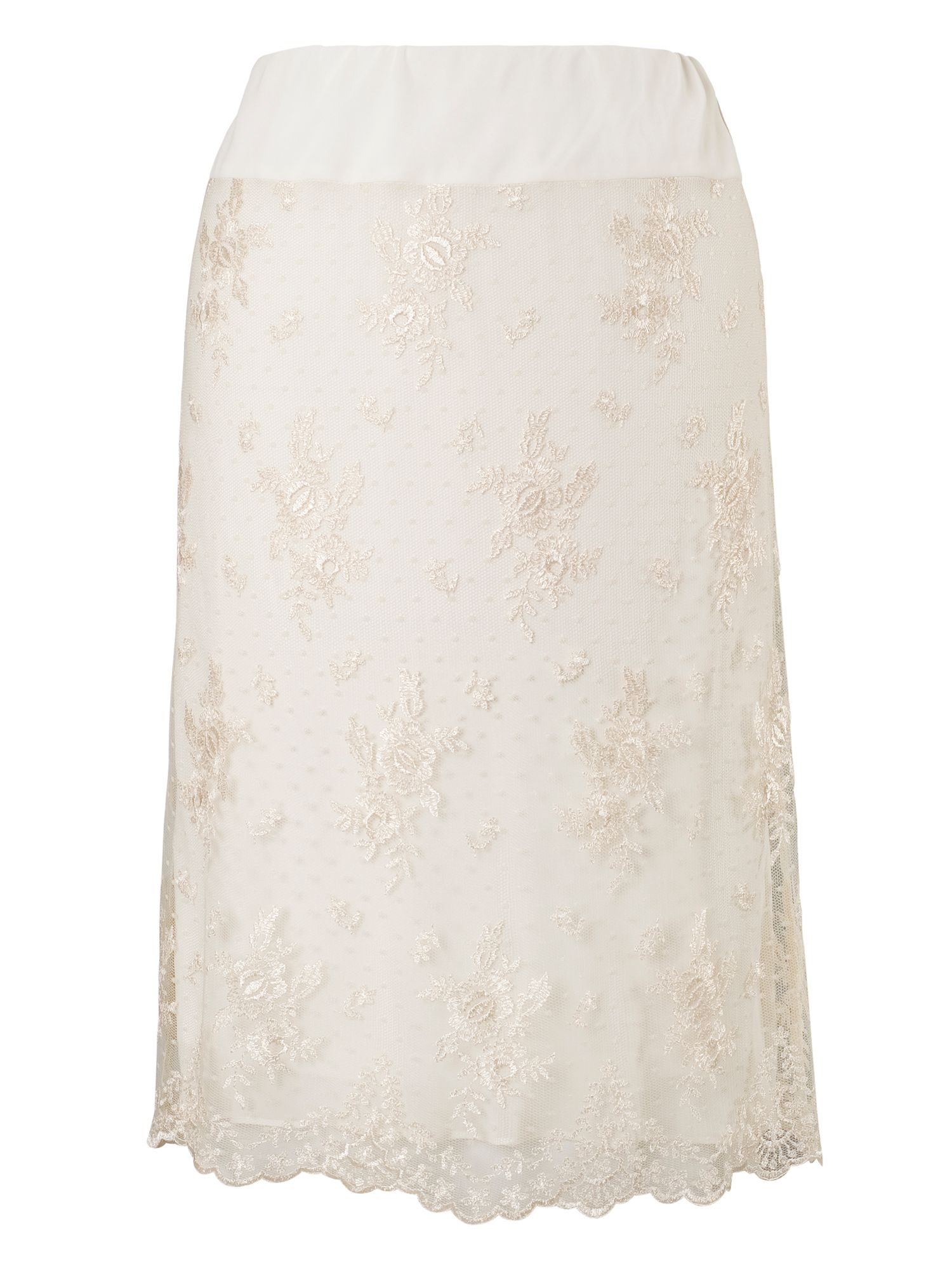 Chesca Scallopped Lace Skirt, Neutral
