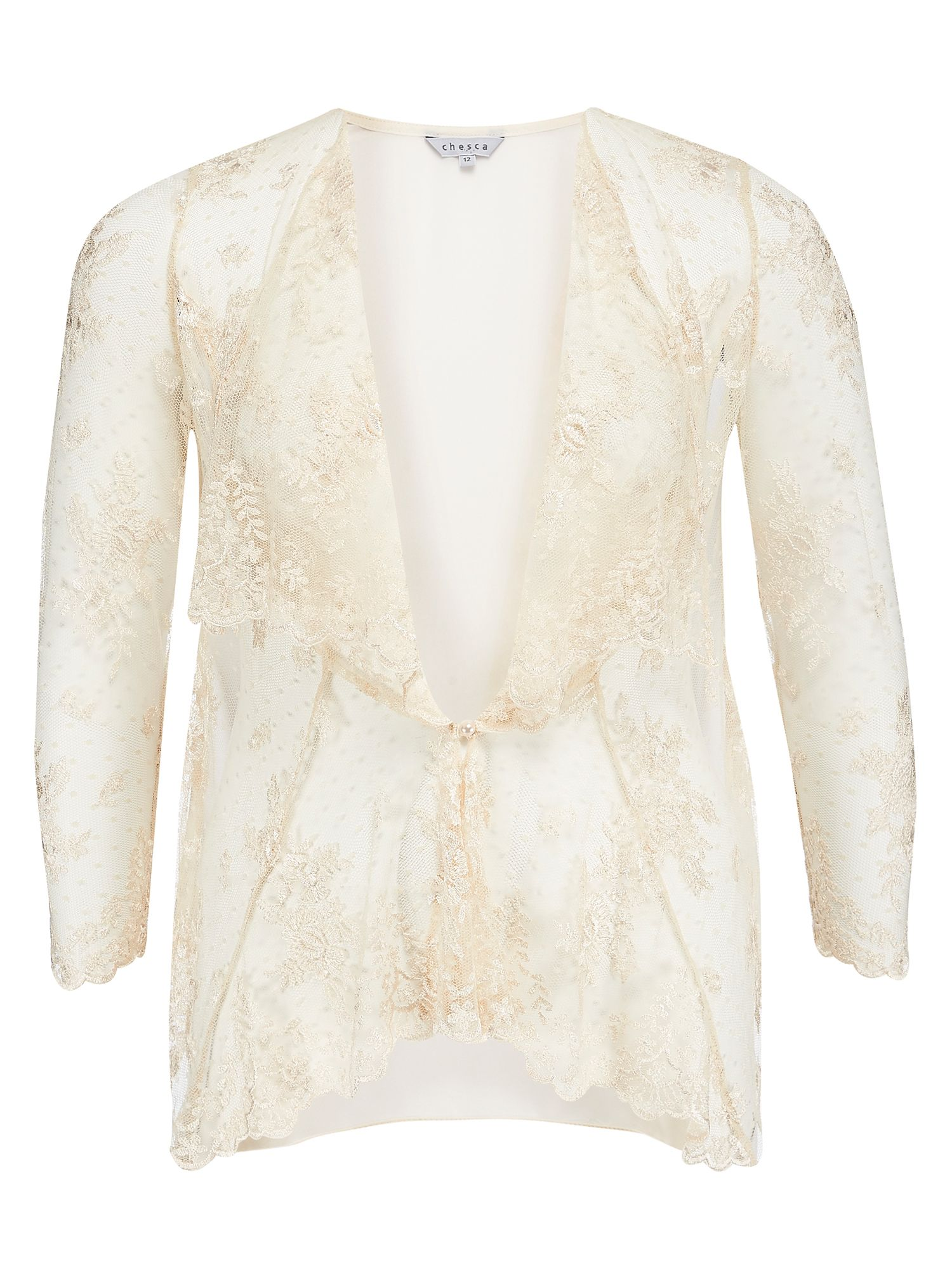 Chesca Scallopped  Lace Coverup, Neutral