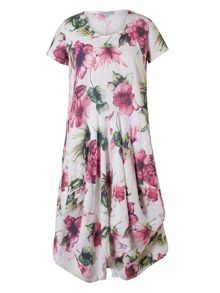 Chesca Plus Size Printed Linen Dress