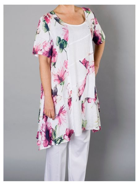 Chesca Printed Linen Tunic