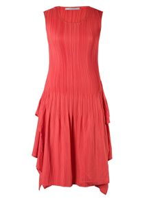 Coral Cap Sleeve Crush Pleat Dress
