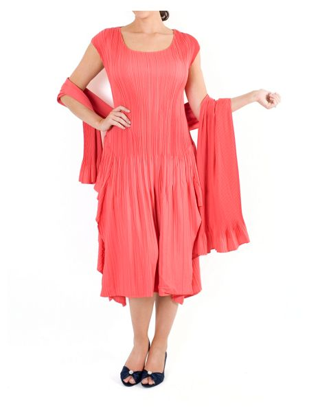Chesca Coral Cap Sleeve Crush Pleat Dress
