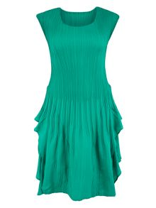 Chesca Jade Cap Sleeve Crush Pleat Dress