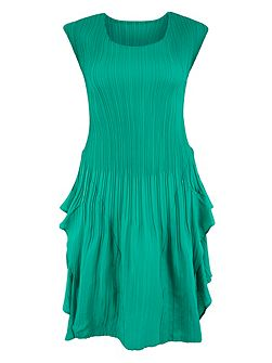Jade Cap Sleeve Crush Pleat Dress