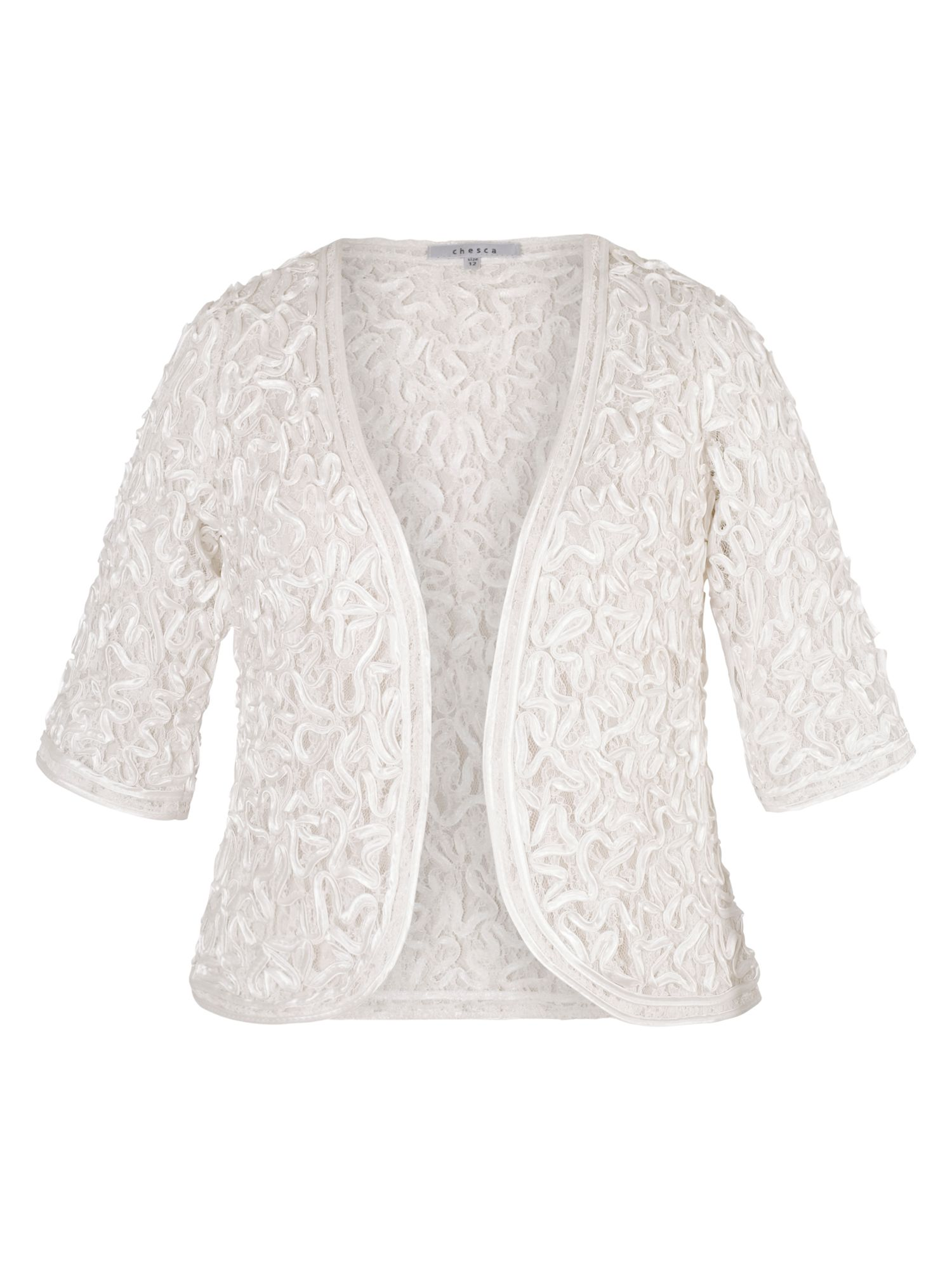 Chesca Satin Cornelli Lace Bolero, White