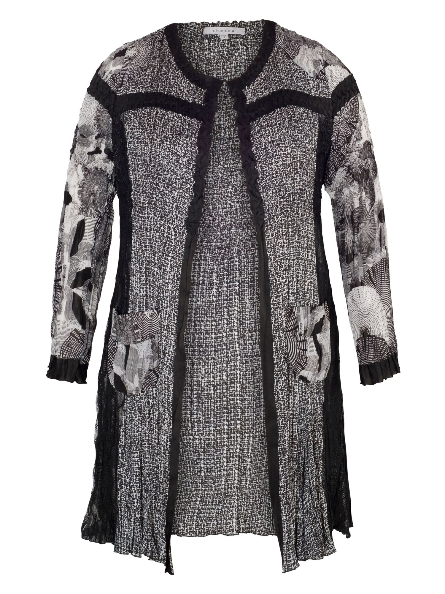 Black/Ivory Patchwork Crush Pleat Coat