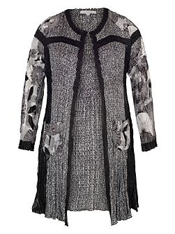 Chesca Black/Ivory Patchwork Crush Pleat Coat