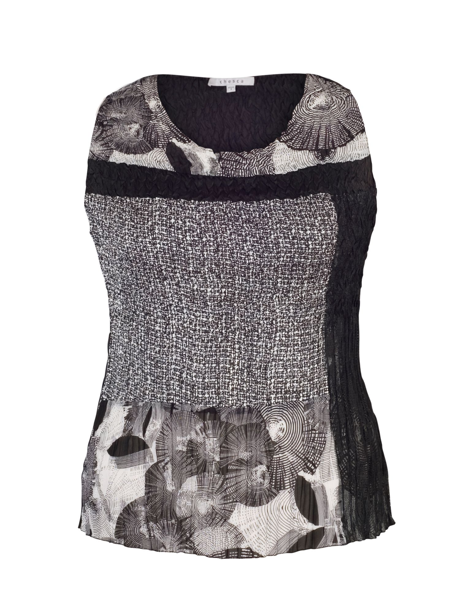 Chesca Plus Size Black/Ivory Patchwork Print Camisole, Black & White