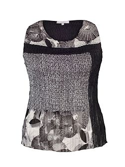 Plus Size Black/Ivory Patchwork Print Camisole