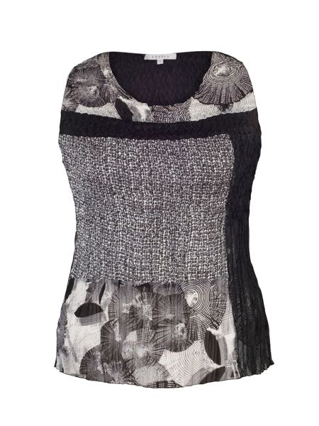 Chesca Plus Size Black/Ivory Patchwork Print Camisole