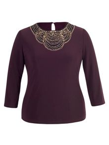 Chesca Plus Size Aubergine Embellished Top