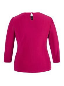Fuschia Embellished Top with 3/4 Sleeves