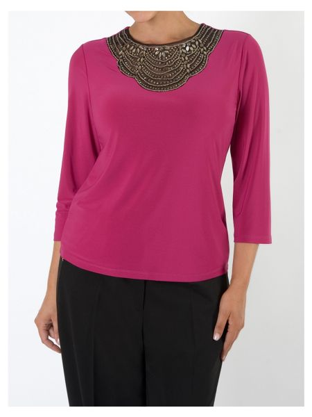 Chesca Fuschia Embellished Top with 3/4 Sleeves
