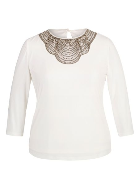 Chesca Plus Size Ivory Embellished Top
