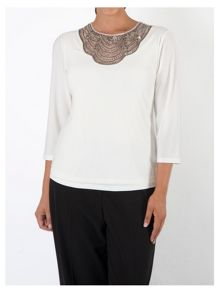 Plus Size Ivory Embellished Top