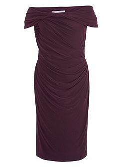 Aubergine twist knot jersey dress