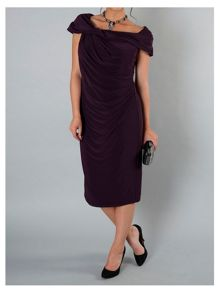 Chesca Aubergine twist knot jersey dress