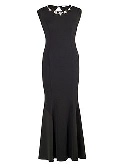 Black Crepe Dress with Beaded Neckline