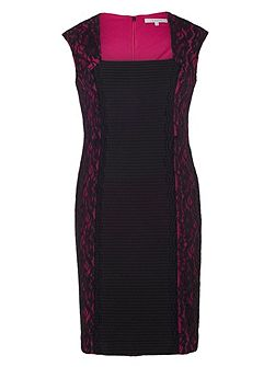 Plus Size Tuck Detail Jersey Dress with Lace