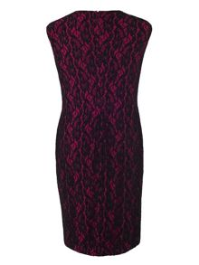 Plus Size Tuck Detail Jersey Dress with Lace Trim