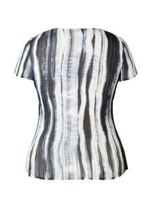 Chesca Plus Size Ivory/Ink Shadow Stripe Top