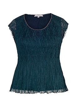 Plus Size Ink Crush Pleat Top with Beaded