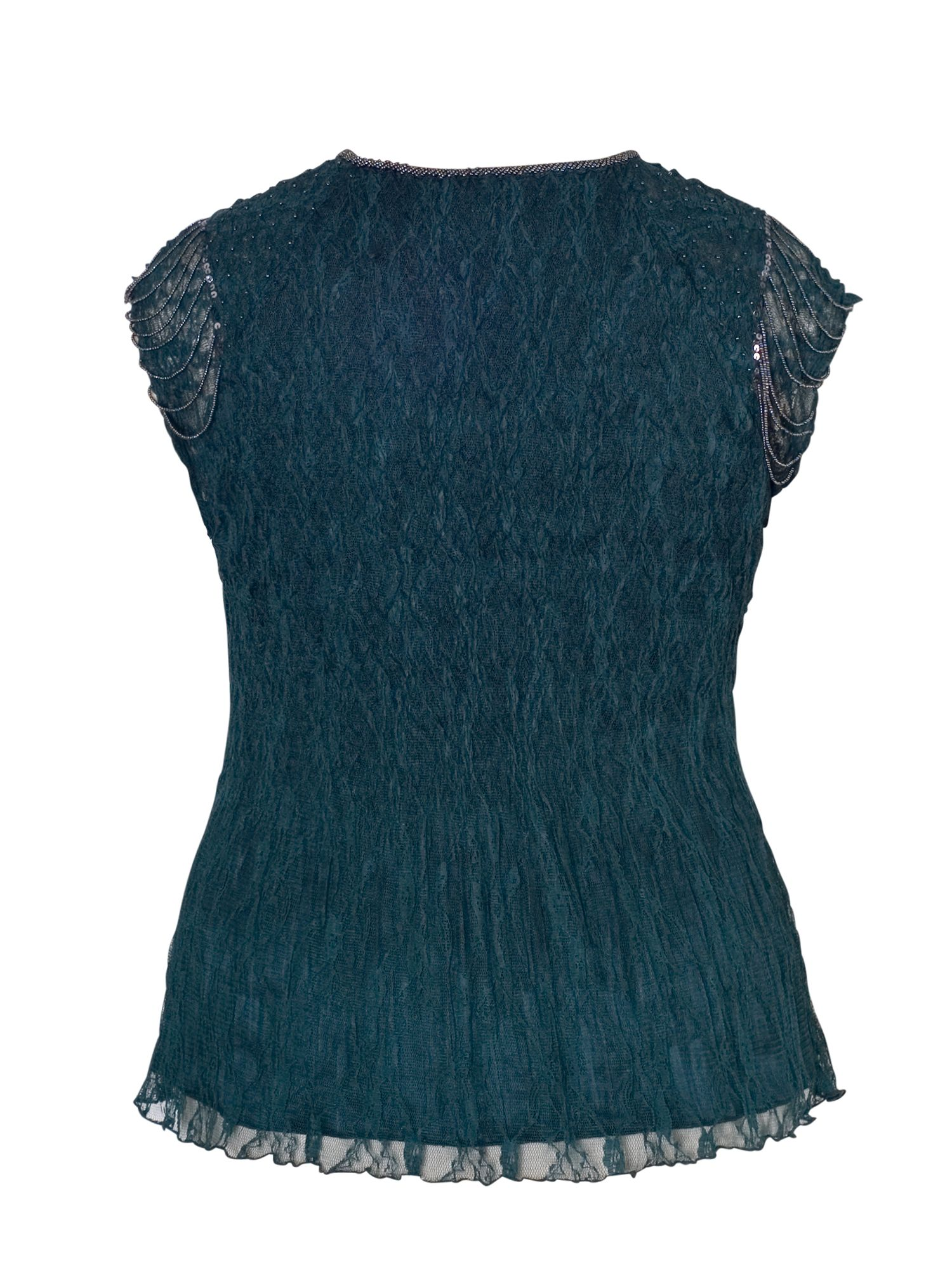Ink Crush Pleat Top with Beaded Sleeves