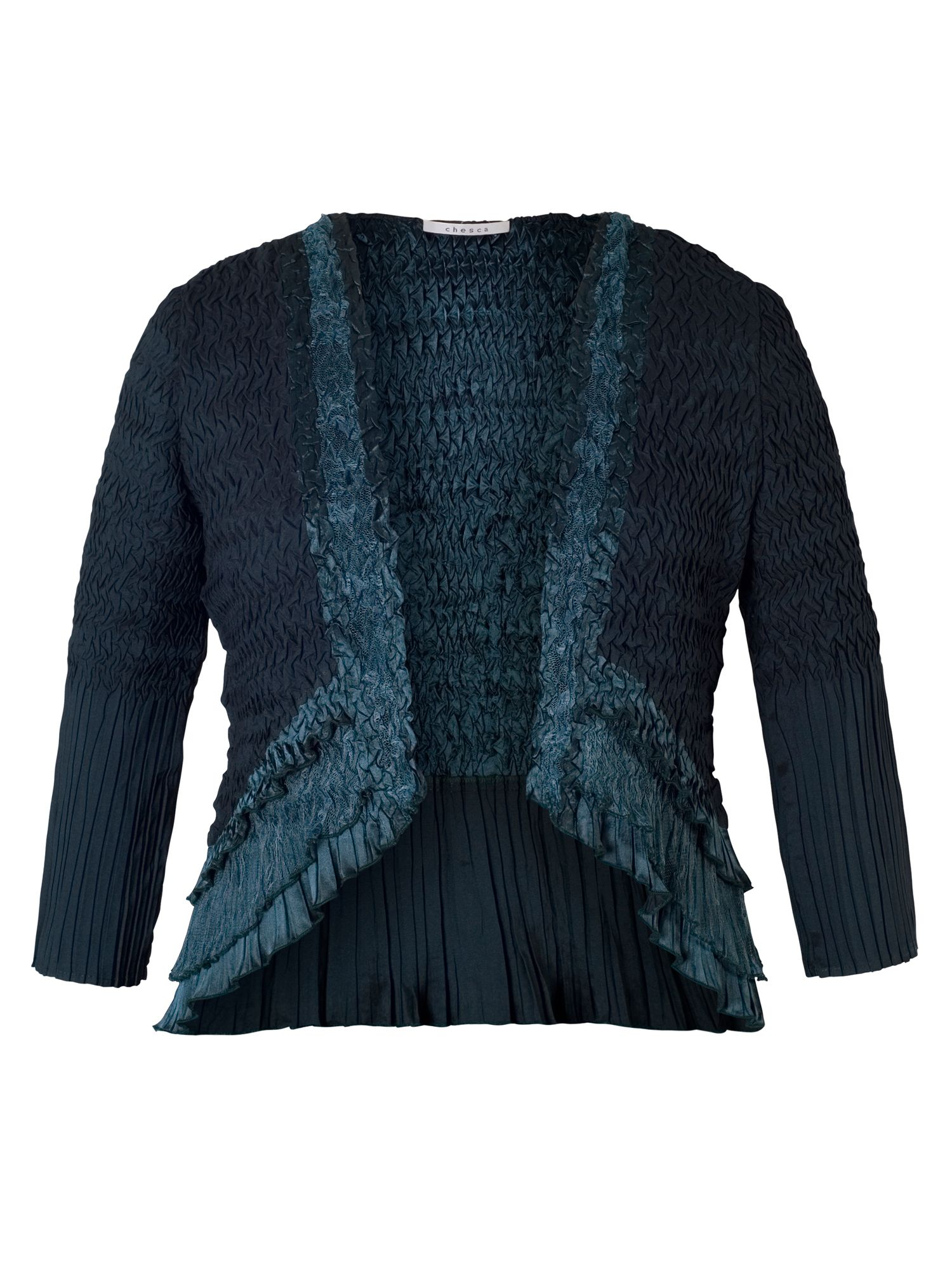Ink Crush Pleat Lace & Satin Trim Shrug