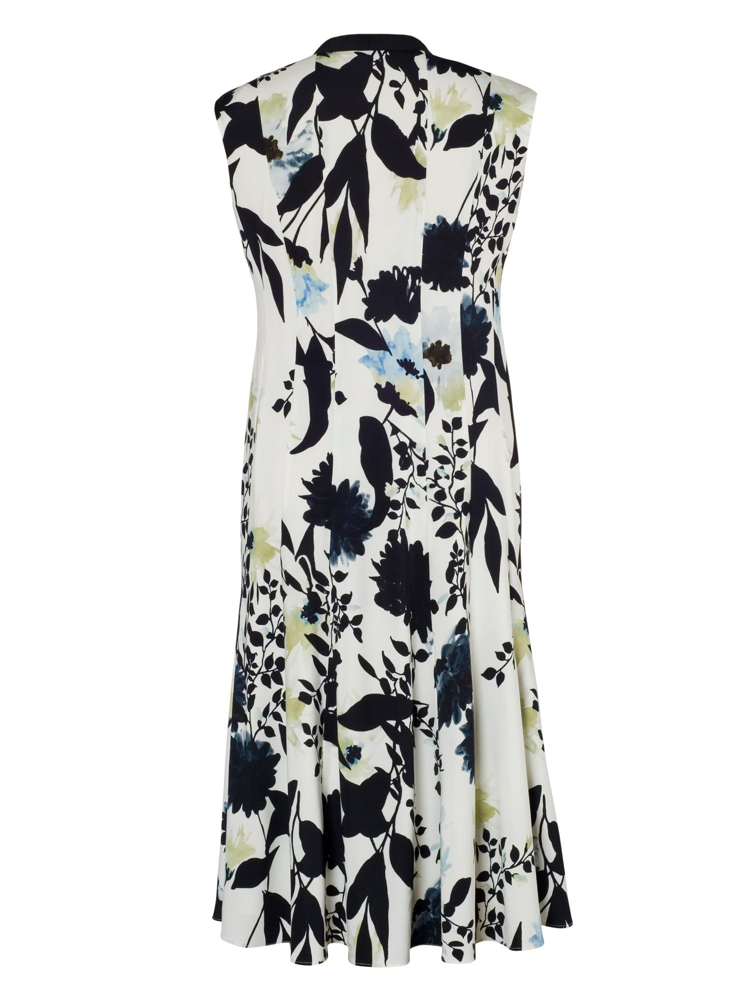 Floral Print Dress with Trim