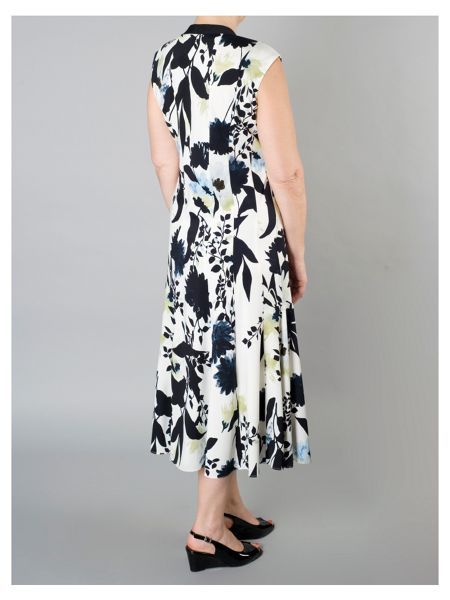 Chesca Floral Print Dress with Trim