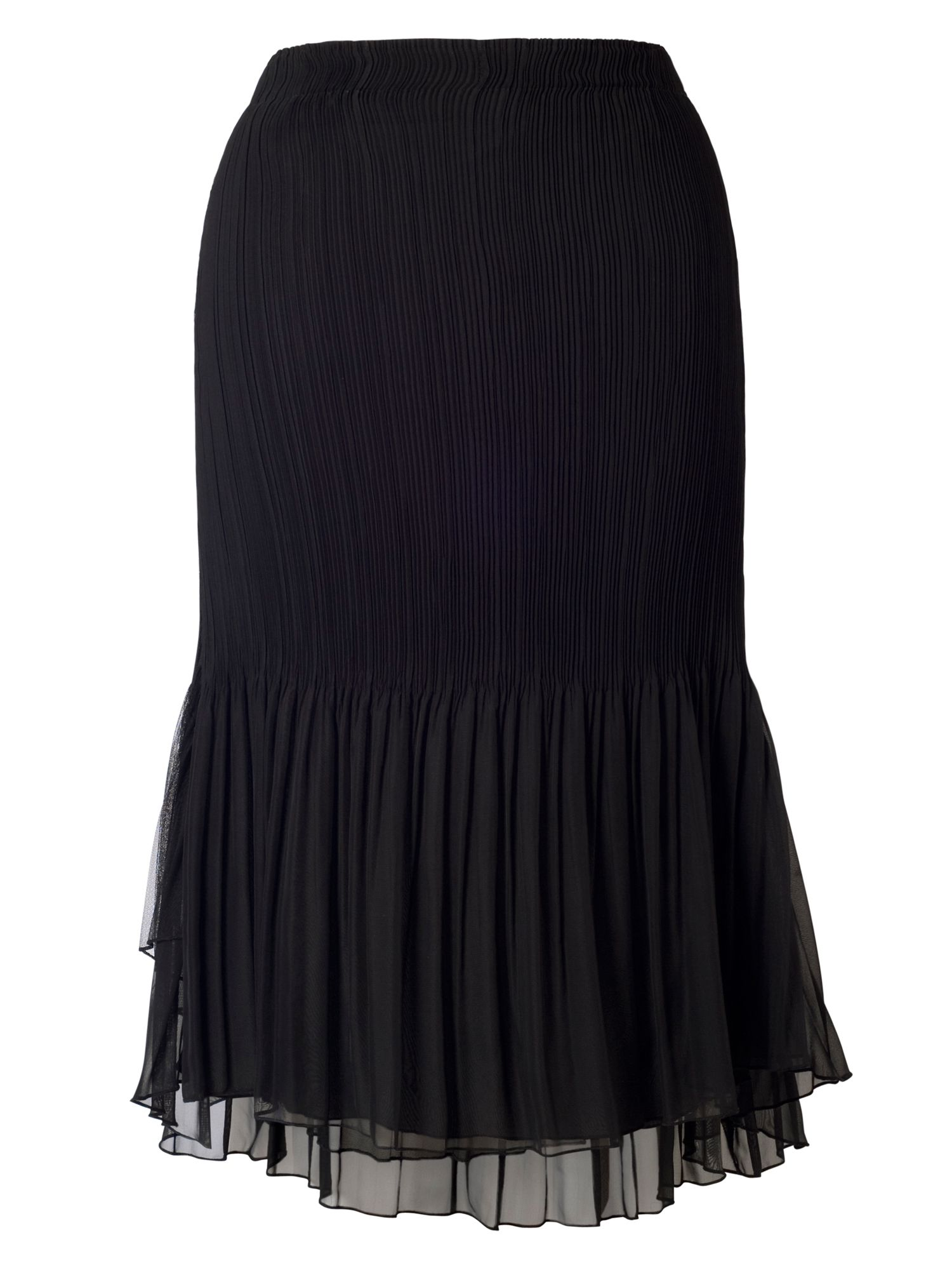 Chesca Plus Size Black Mesh Trim Pleat Skirt, Black