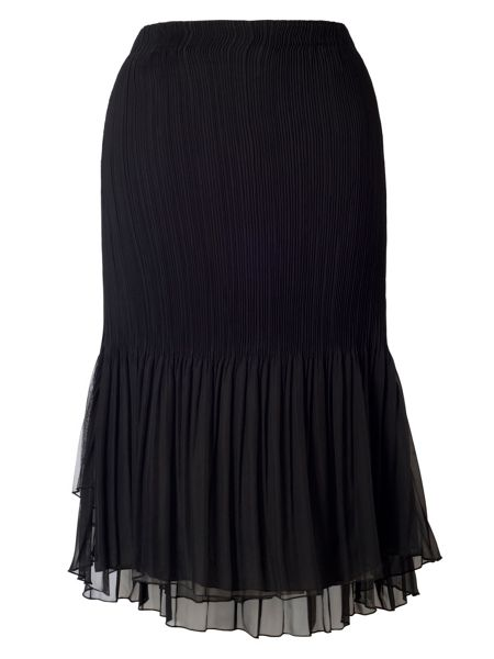 Chesca Plus Size Black Mesh Trim Pleat Skirt