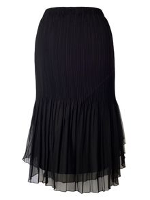 Plus Size Black Mesh Trim Pleat Skirt