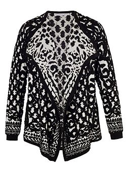 Chesca Black/Ivory Jacquard Knitted Cardigan