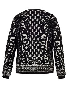 Black/Ivory Jacquard Knitted Cardigan