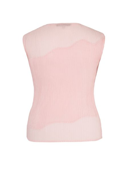 Chesca Plus Size Pink Chiffon Trim Crush Pleat Top