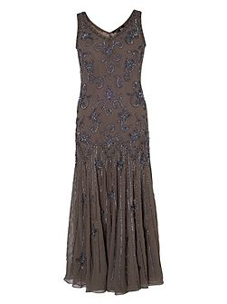 Mink Gunmetal Beaded Dress