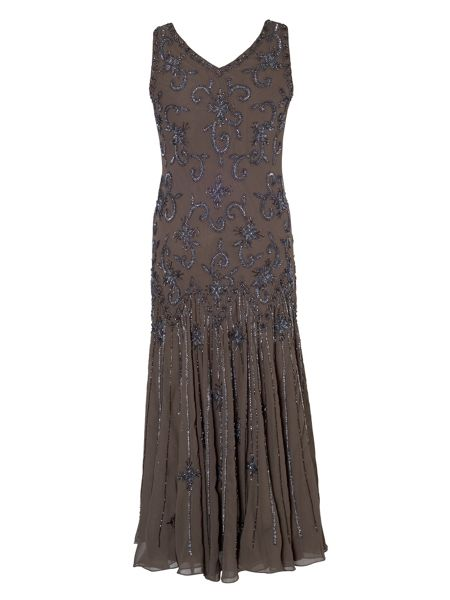 Chesca Mink Gunmetal Beaded Dress